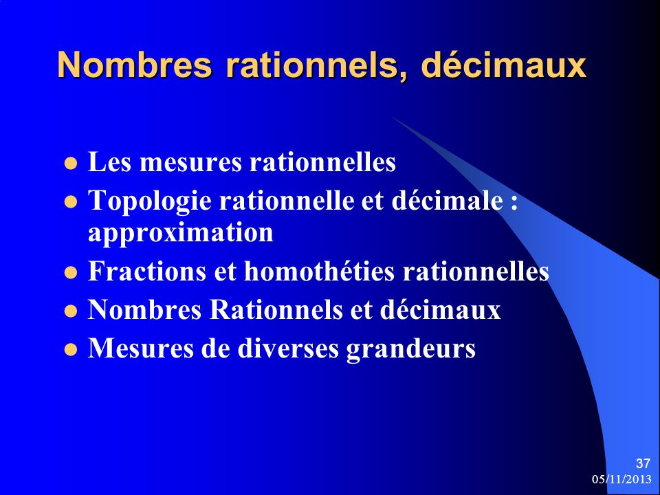 Nombres rationnels, décimaux