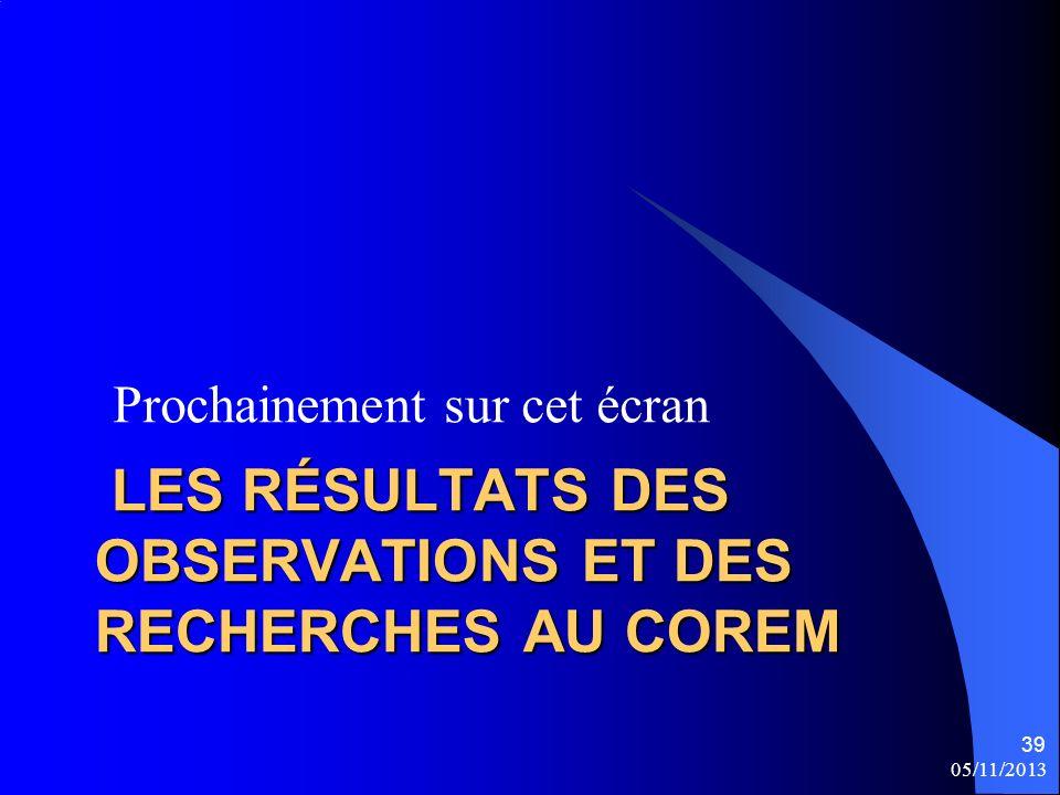 Les résultats des observations et des recherches au COREM