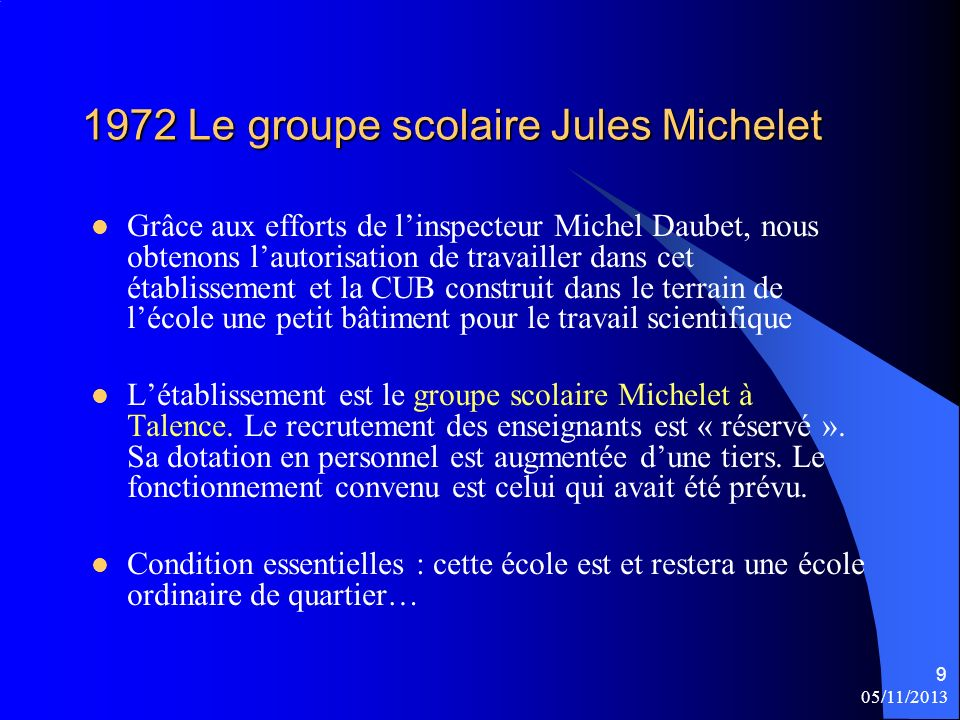 1972 Le groupe scolaire Jules Michelet