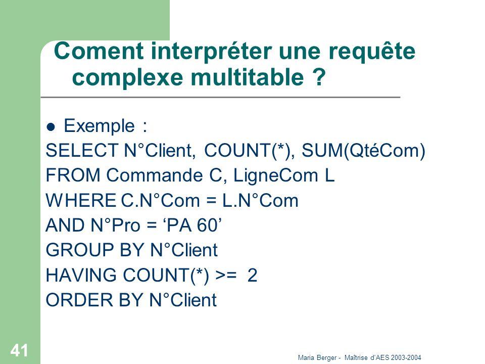 Coment interpréter une requête complexe multitable