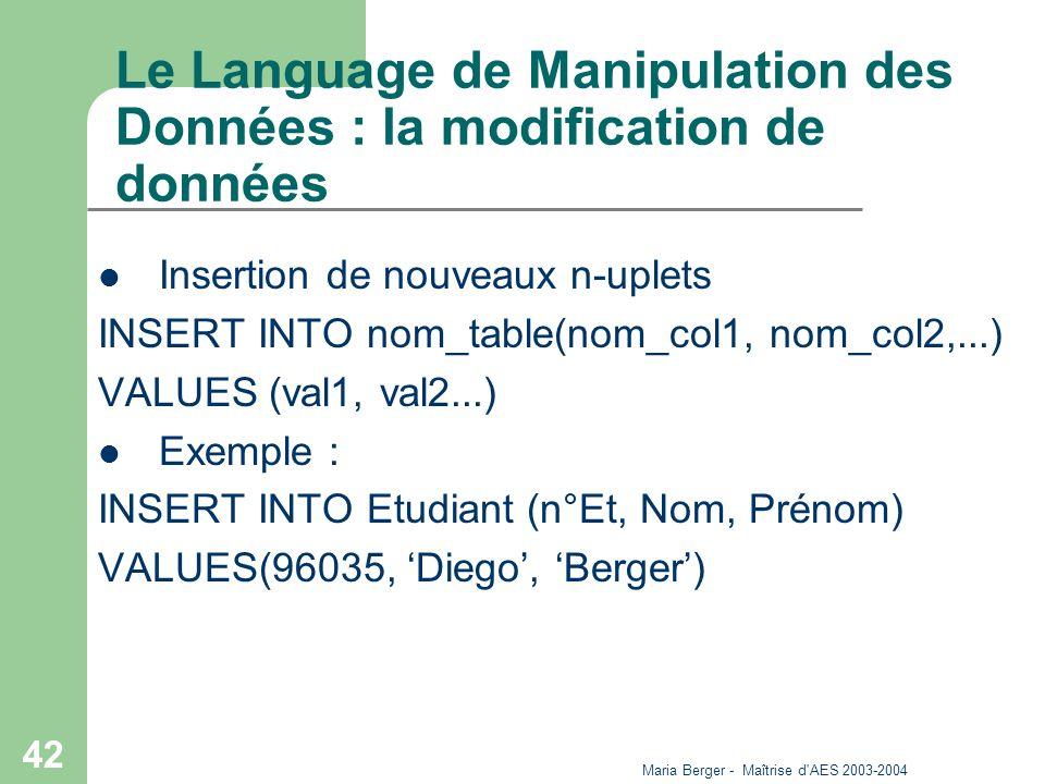 Le Language de Manipulation des Données : la modification de données