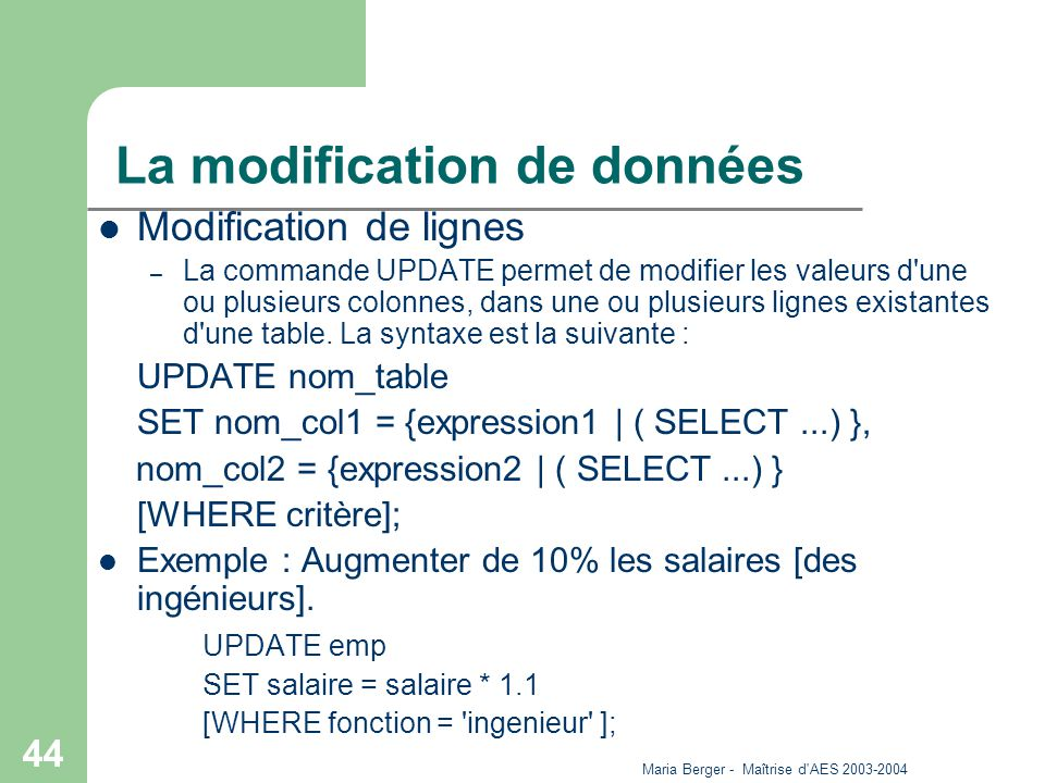 La modification de données