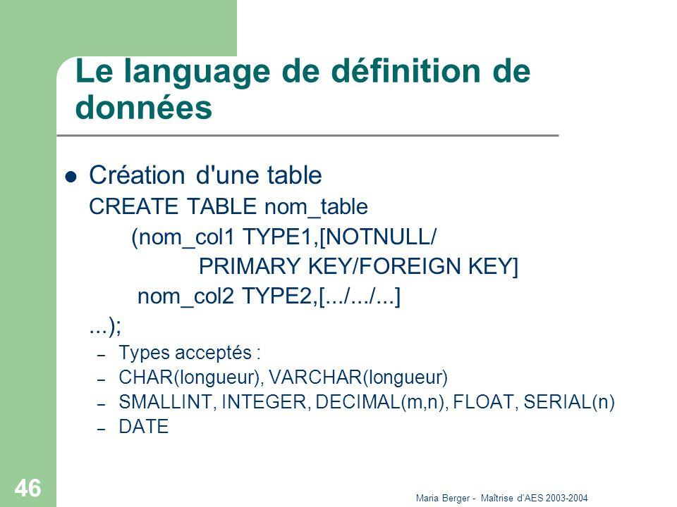 Le language de définition de données
