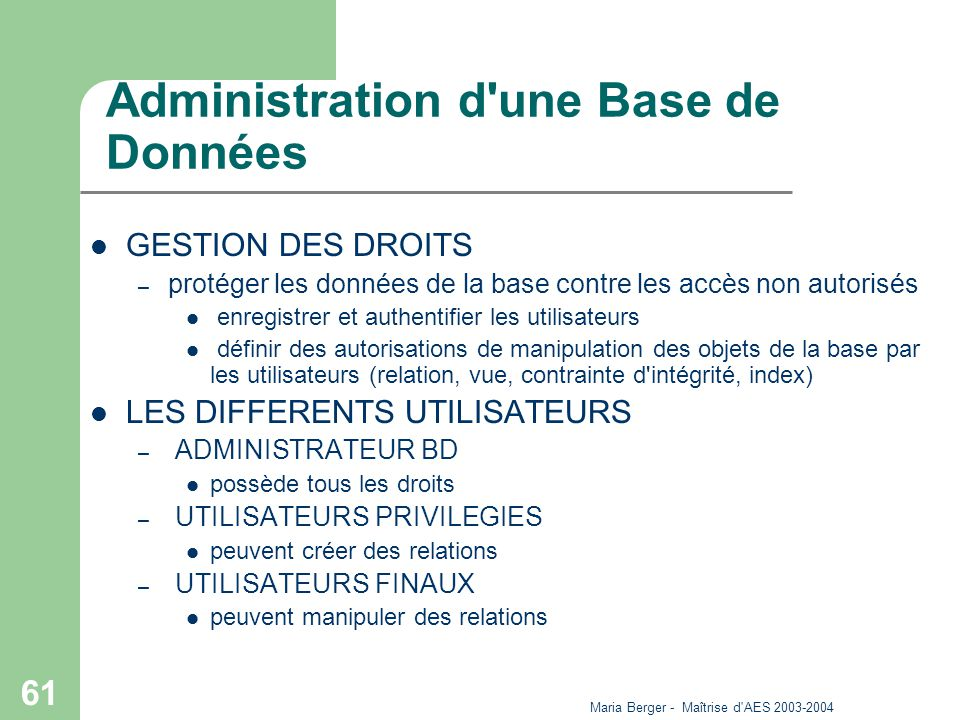 Administration d une Base de Données
