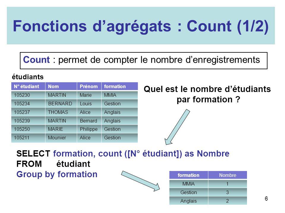 Fonctions d'agrégats : Count (1/2)