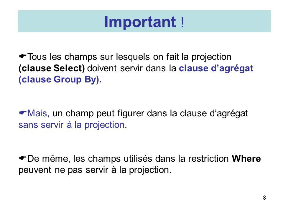 Important ! Tous les champs sur lesquels on fait la projection (clause Select) doivent servir dans la clause d'agrégat (clause Group By).