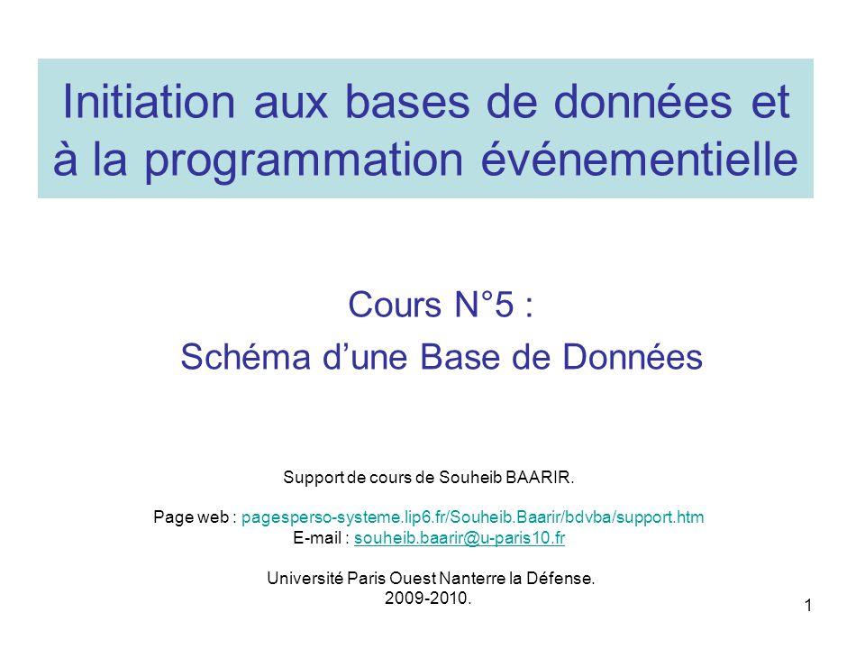 Initiation aux bases de données et à la programmation événementielle