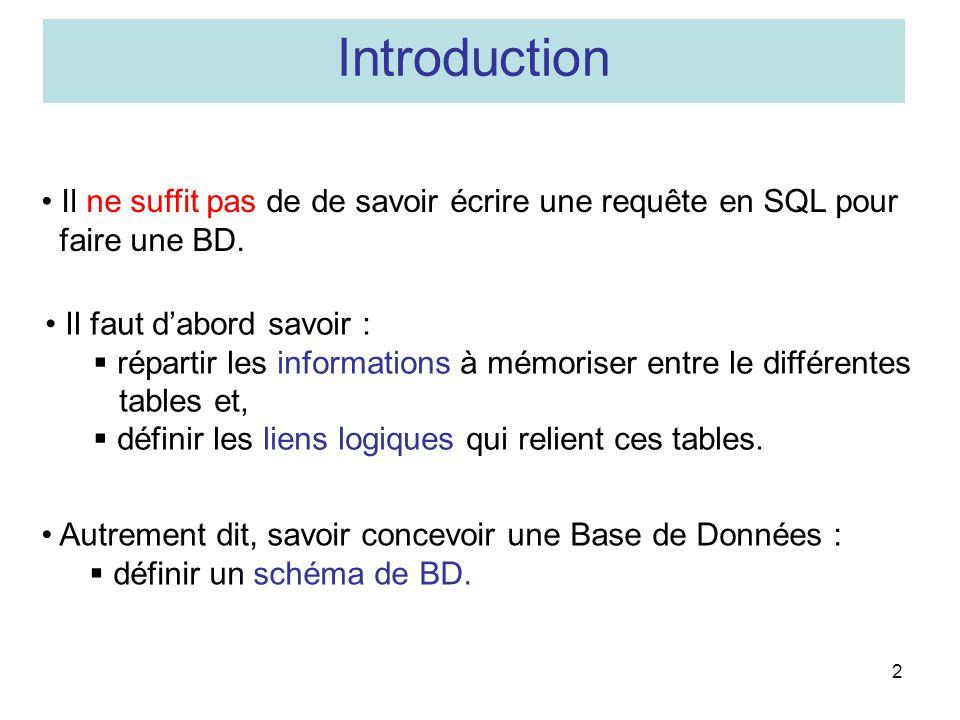 Introduction Il ne suffit pas de de savoir écrire une requête en SQL pour. faire une BD. Il faut d'abord savoir :