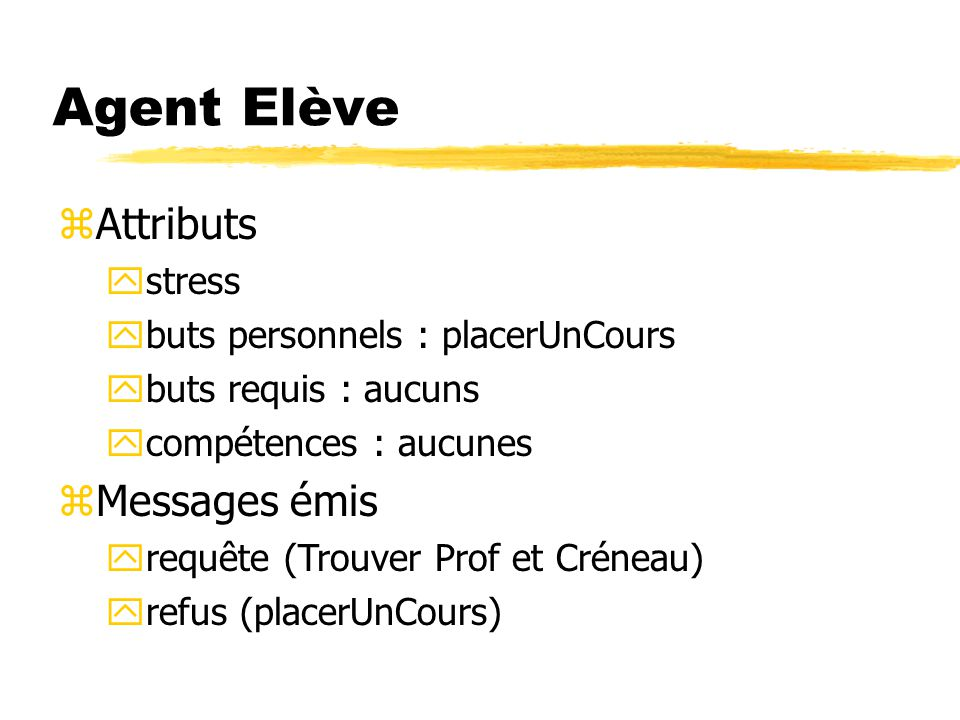 Agent Elève Attributs Messages émis stress