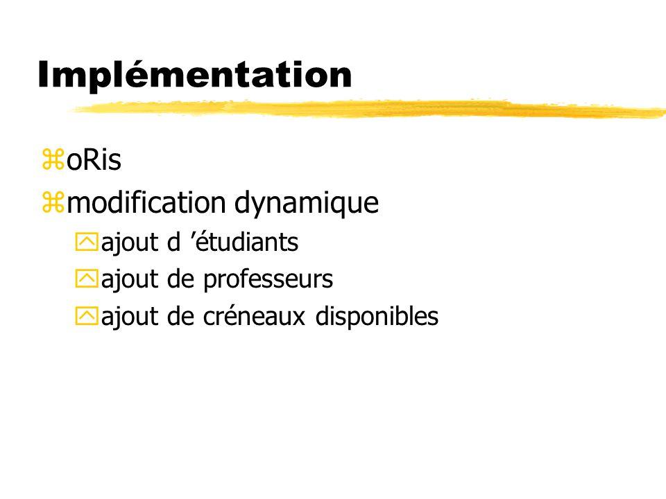 Implémentation oRis modification dynamique ajout d 'étudiants