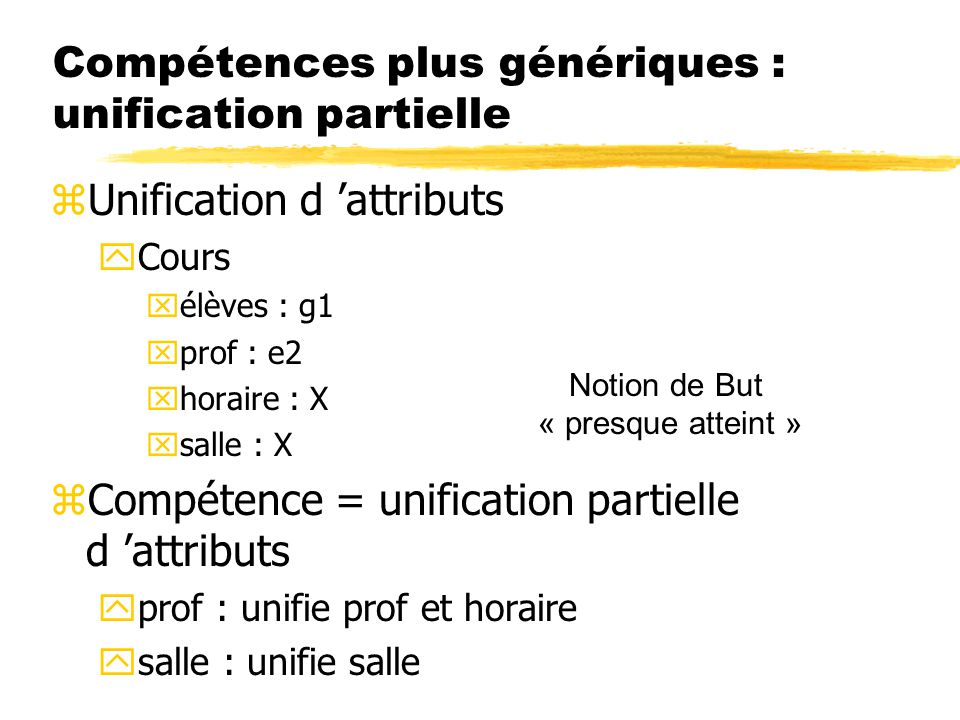 Compétences plus génériques : unification partielle