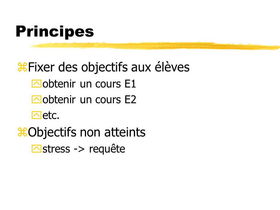 Principes Fixer des objectifs aux élèves Objectifs non atteints