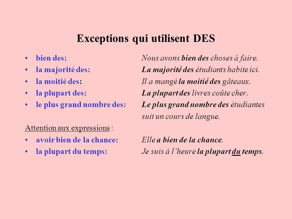Exceptions qui utilisent DES