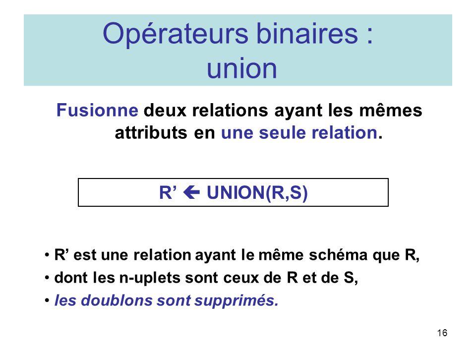 Opérateurs binaires : union