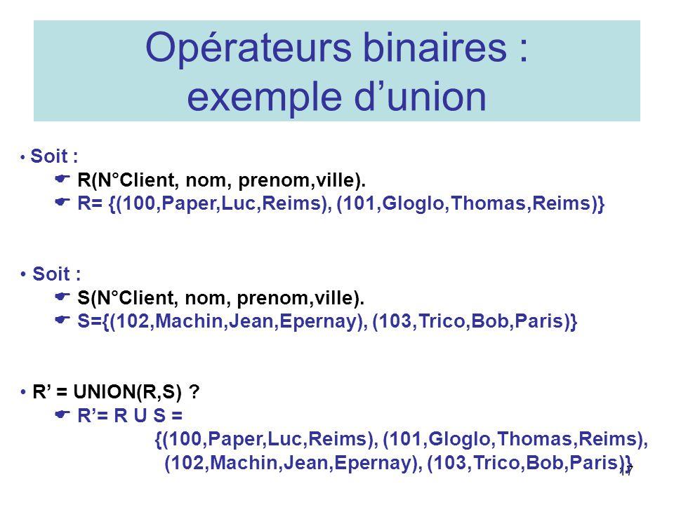 Opérateurs binaires : exemple d'union