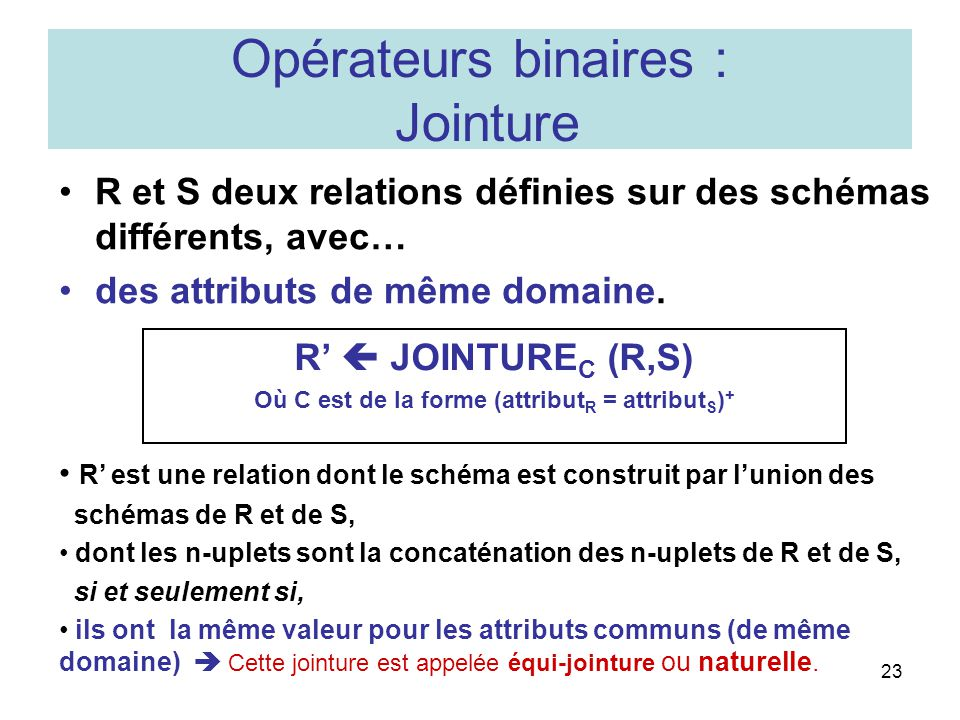 Opérateurs binaires : Jointure