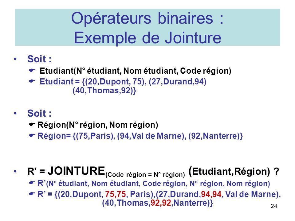 Opérateurs binaires : Exemple de Jointure