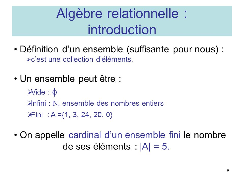 Algèbre relationnelle : introduction