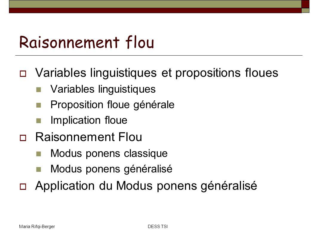Raisonnement flou Variables linguistiques et propositions floues