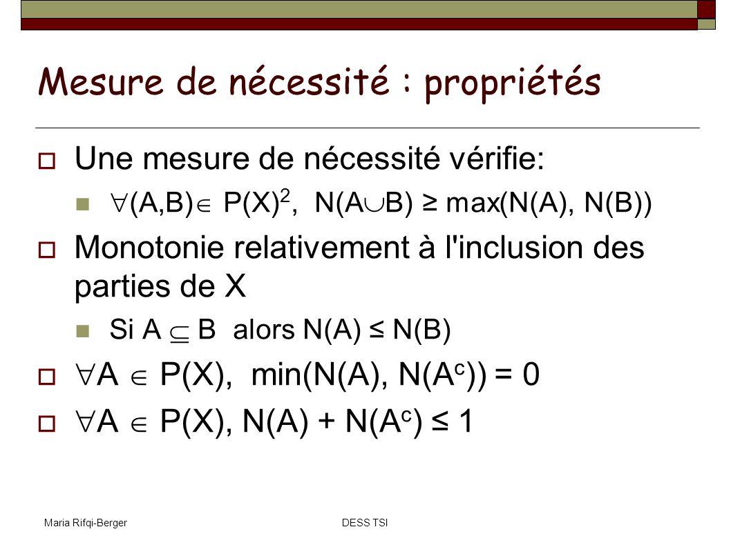 Mesure de nécessité : propriétés