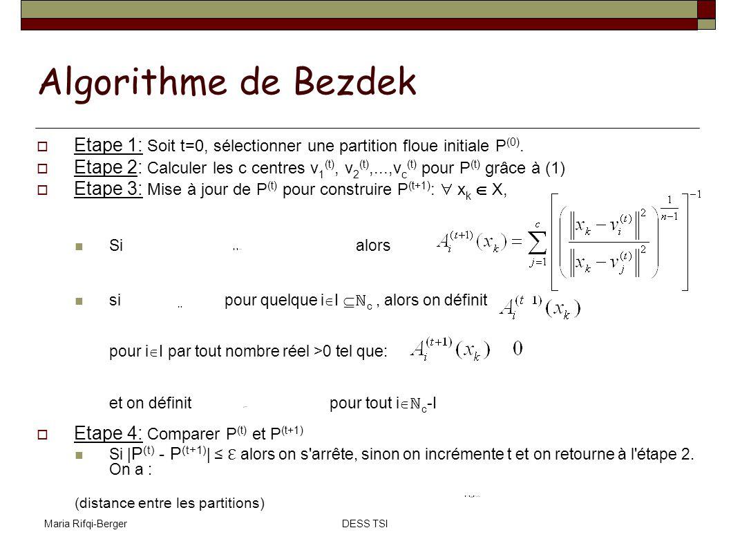 Algorithme de Bezdek Etape 1: Soit t=0, sélectionner une partition floue initiale P(0).
