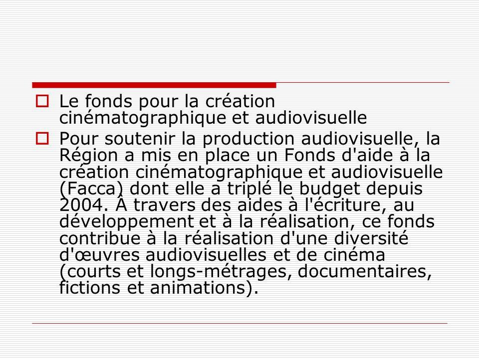 Le fonds pour la création cinématographique et audiovisuelle