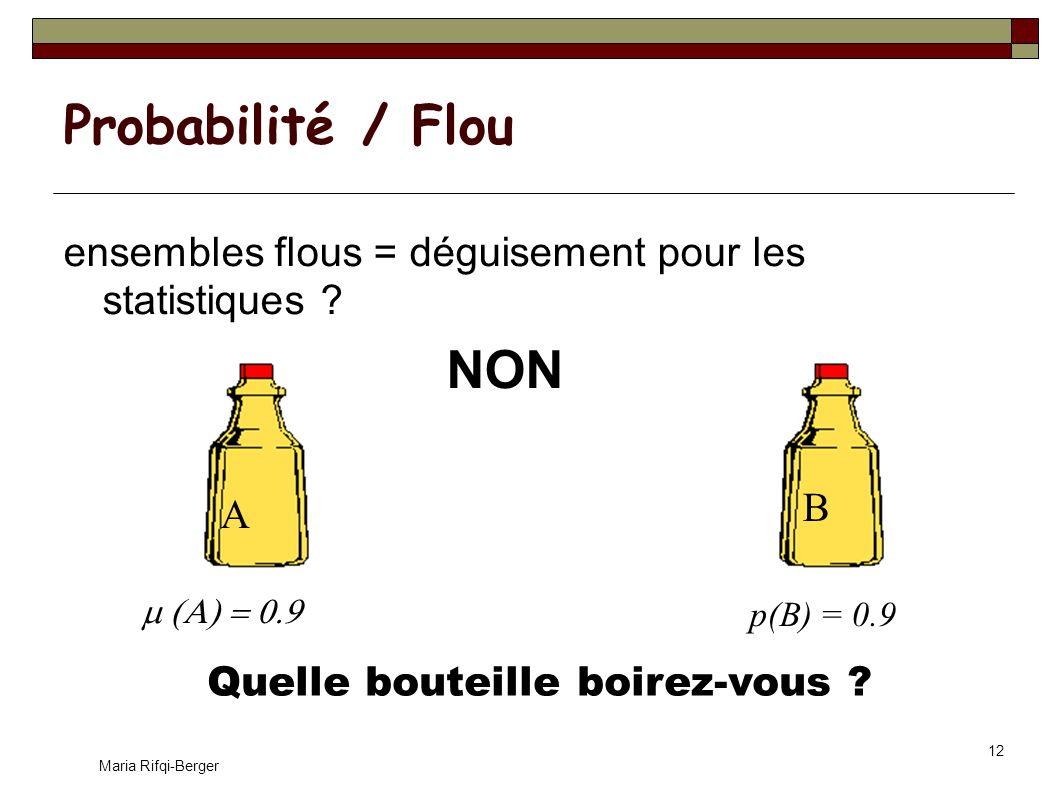 Probabilité / Flou ensembles flous = déguisement pour les statistiques NON. B. A. 