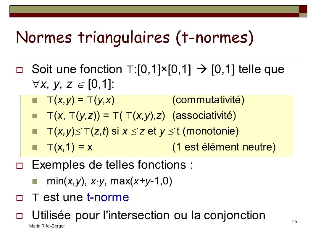 Normes triangulaires (t-normes)