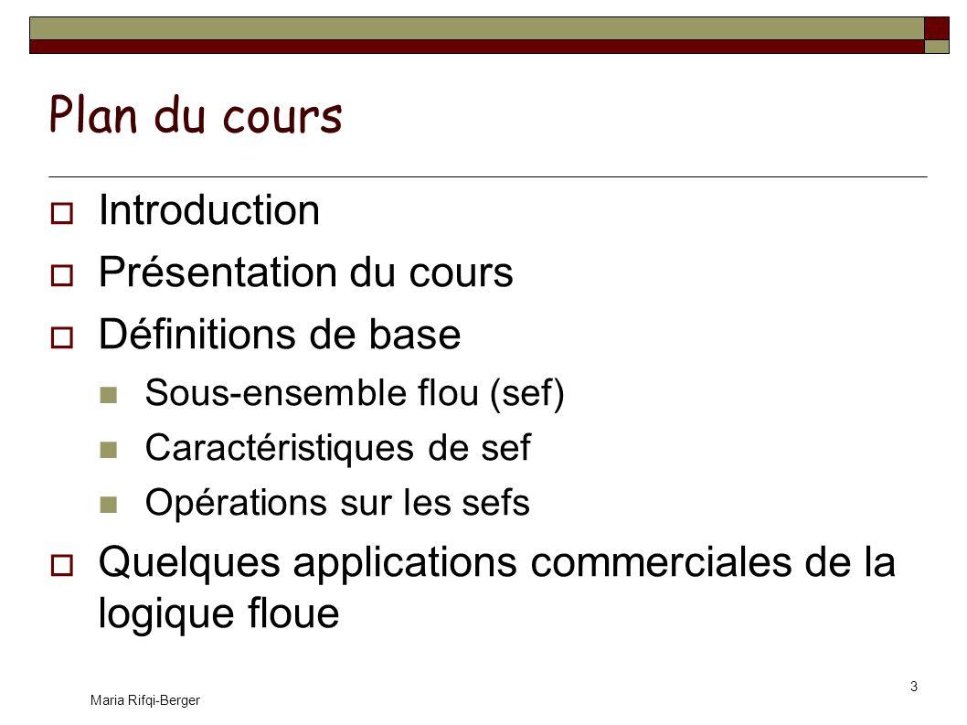 Plan du cours Introduction Présentation du cours Définitions de base