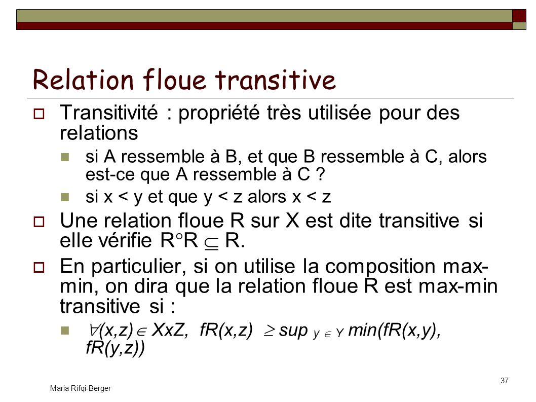 Relation floue transitive