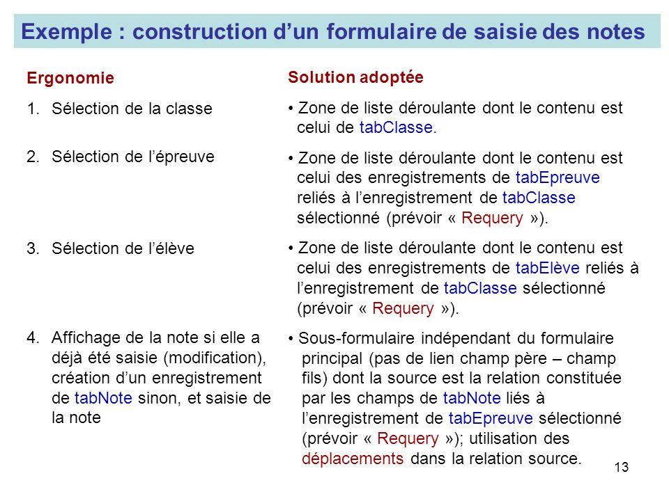 Exemple : construction d'un formulaire de saisie des notes