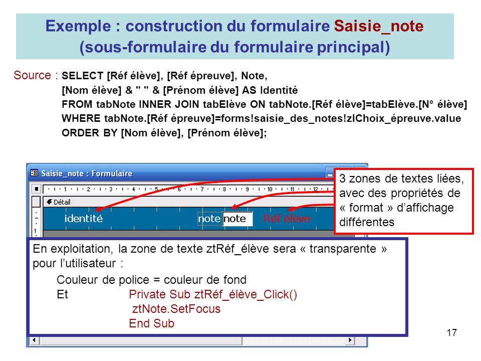 Exemple : construction du formulaire Saisie_note