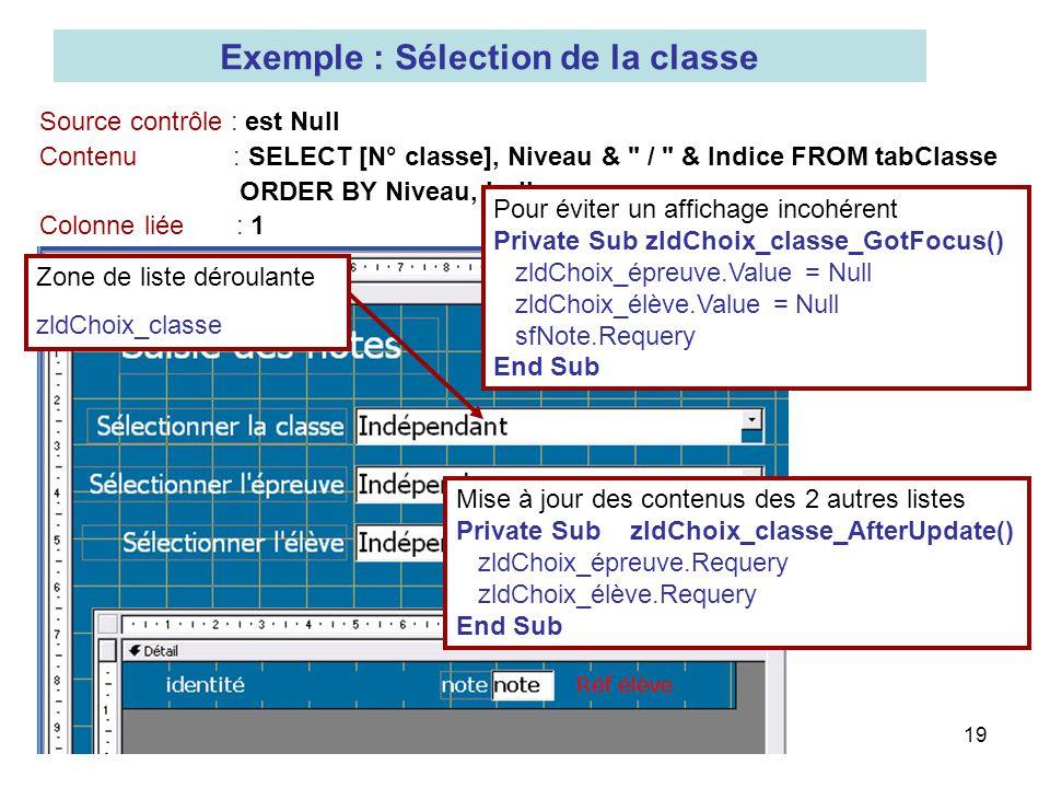 Exemple : Sélection de la classe