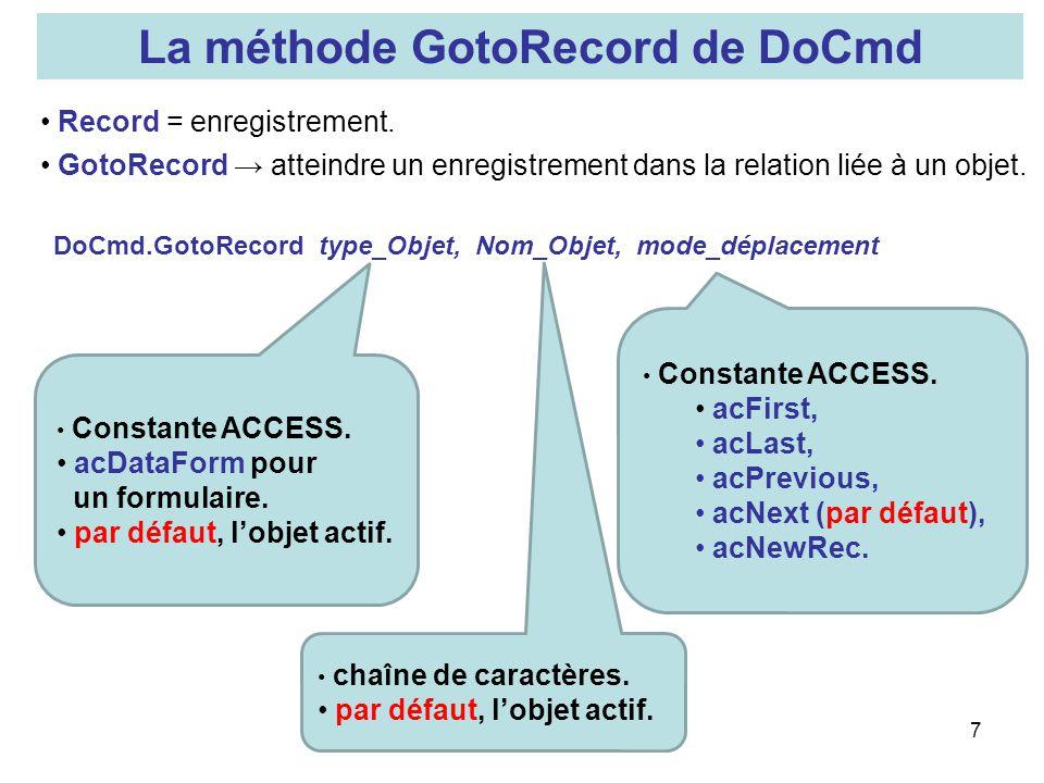 La méthode GotoRecord de DoCmd