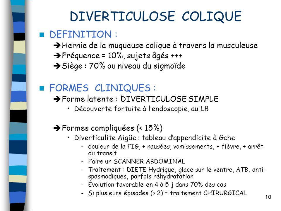 DIVERTICULOSE COLIQUE