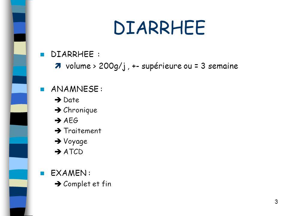 DIARRHEE DIARRHEE : volume > 200g/j , +- supérieure ou = 3 semaine