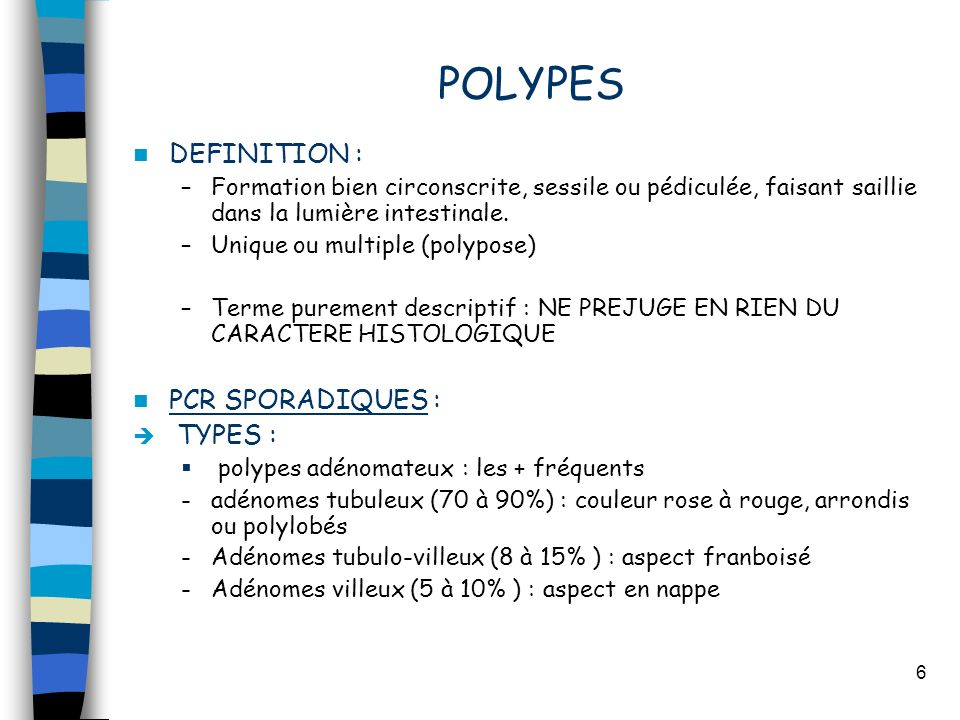 POLYPES DEFINITION : PCR SPORADIQUES : TYPES :