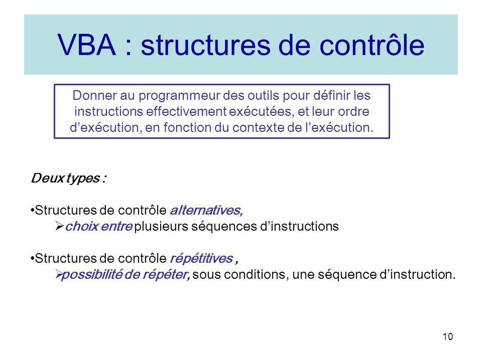 VBA : structures de contrôle