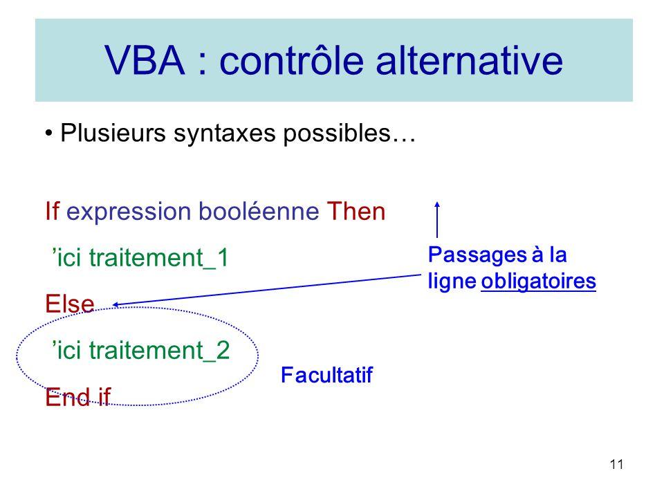 VBA : contrôle alternative