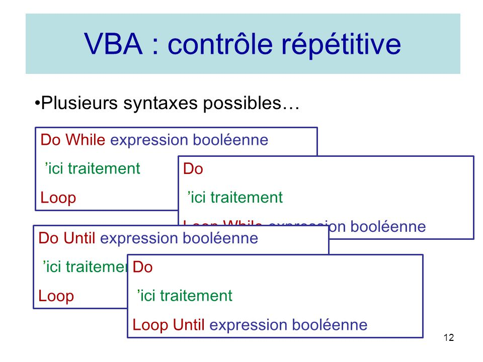 VBA : contrôle répétitive