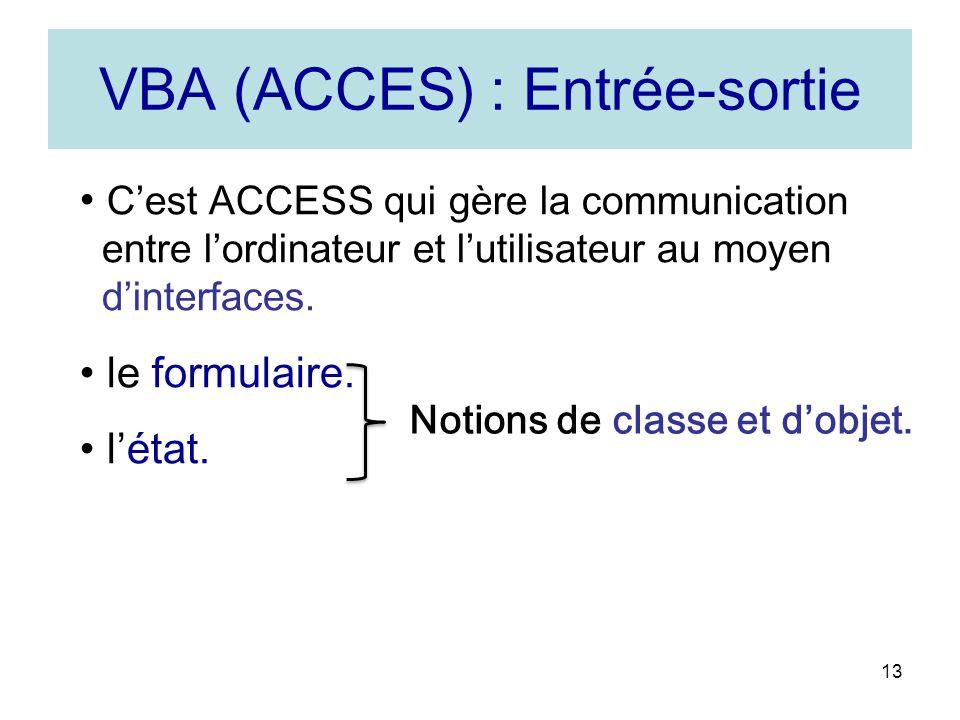 VBA (ACCES) : Entrée-sortie