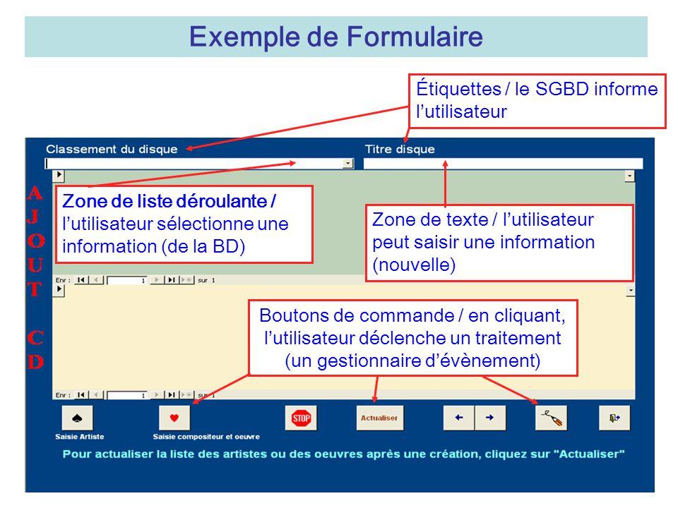 Exemple de Formulaire Étiquettes / le SGBD informe l'utilisateur