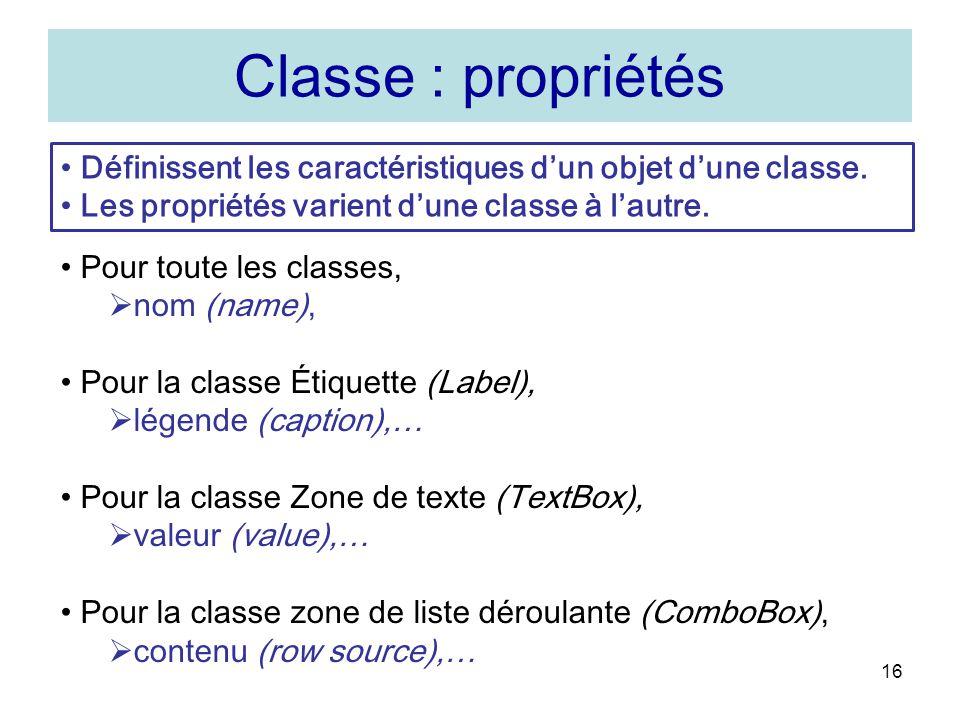 Classe : propriétés Définissent les caractéristiques d'un objet d'une classe. Les propriétés varient d'une classe à l'autre.