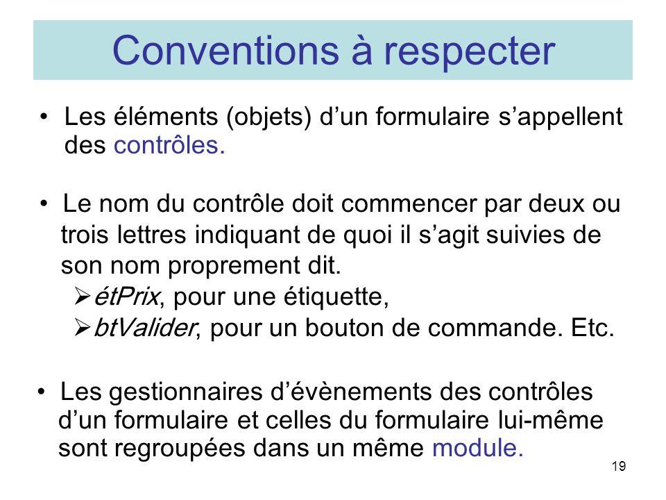 Conventions à respecter