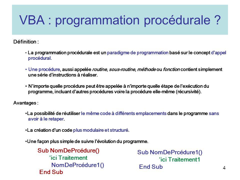 VBA : programmation procédurale