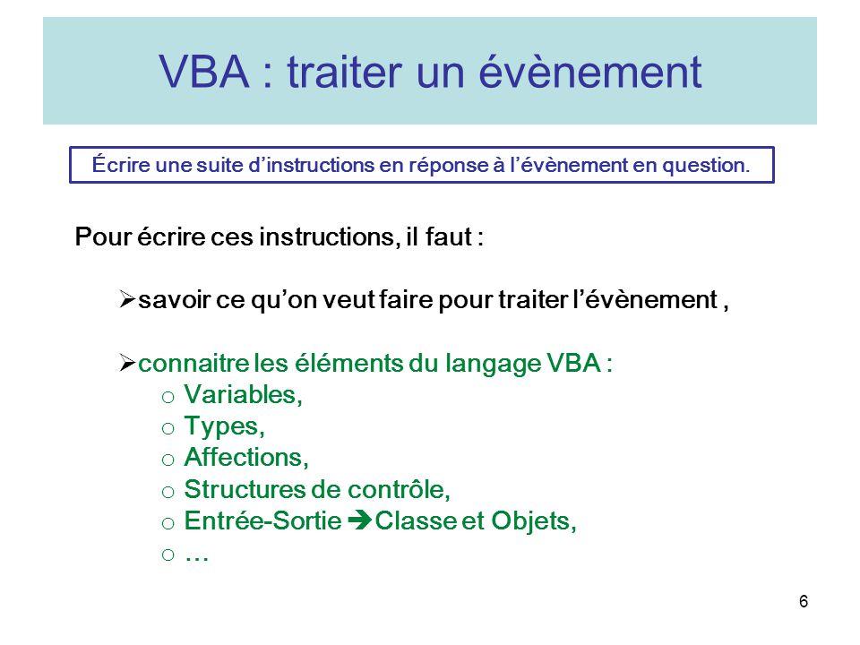 VBA : traiter un évènement