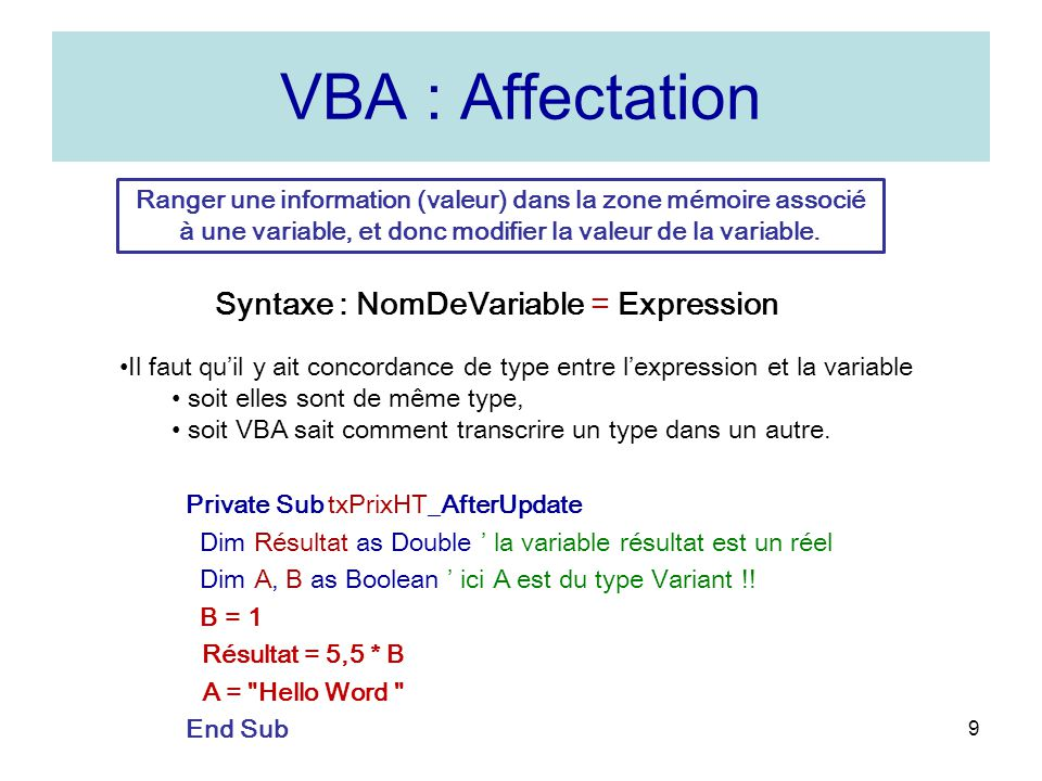 VBA : Affectation Syntaxe : NomDeVariable = Expression