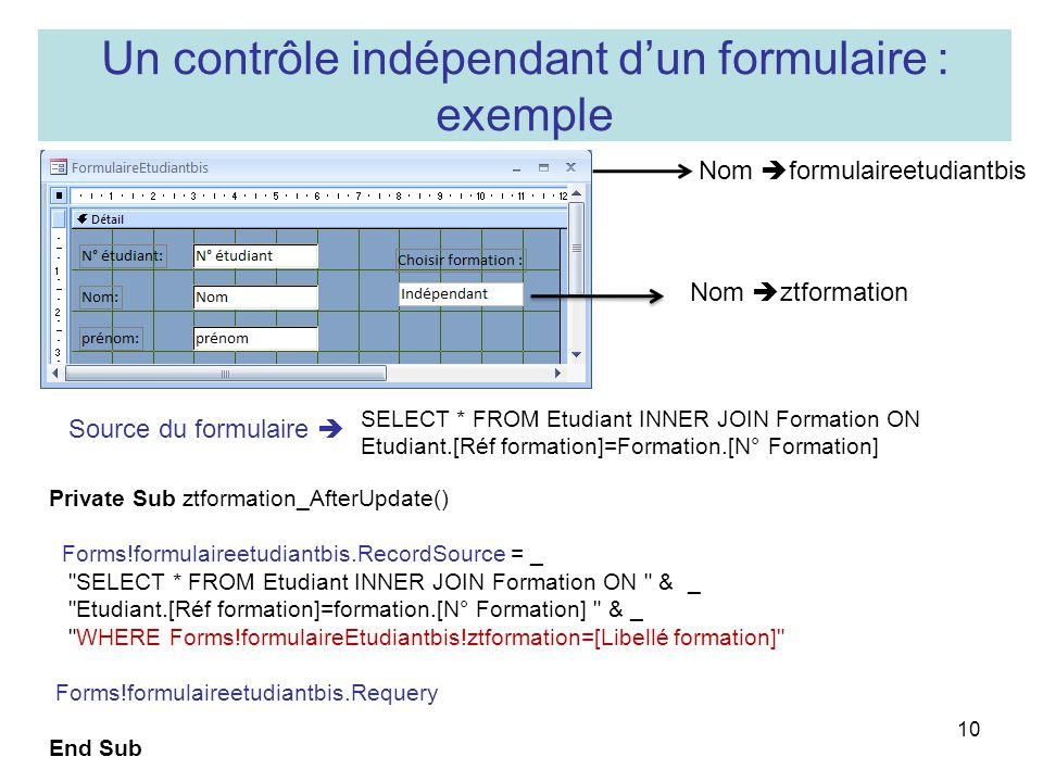 Un contrôle indépendant d'un formulaire : exemple