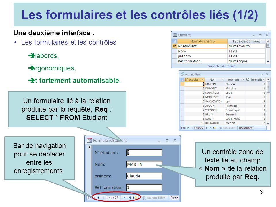 Les formulaires et les contrôles liés (1/2)