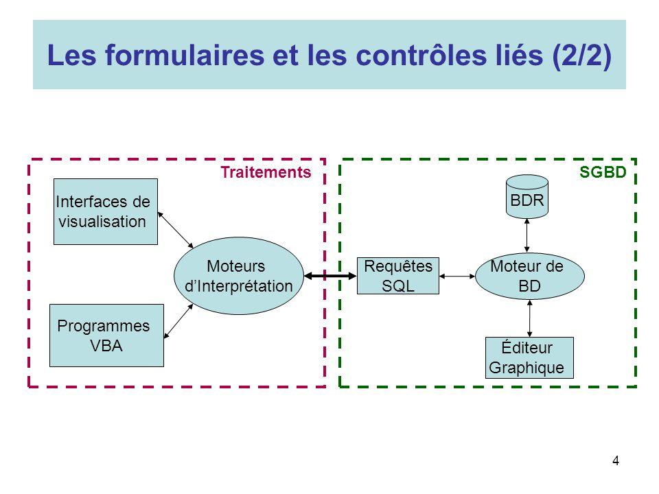 Les formulaires et les contrôles liés (2/2)